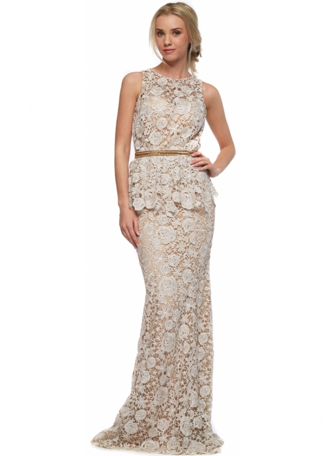 Portia & Scarlett Jaci Nude Lace Peplum Long Evening Gown