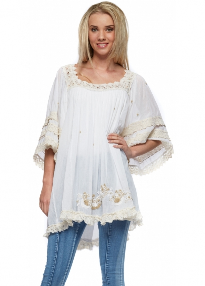 Antica Sartoria White Kaftan Tunic Top With Cream Crochet Lace