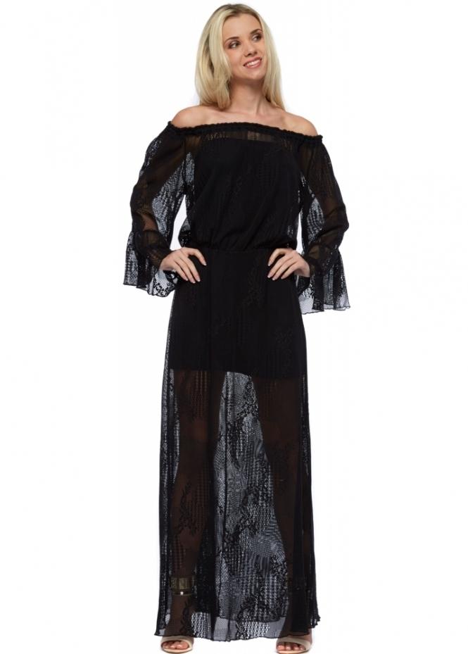 Pink Flame Black Crochet Off The Shoulder Maxi Dress