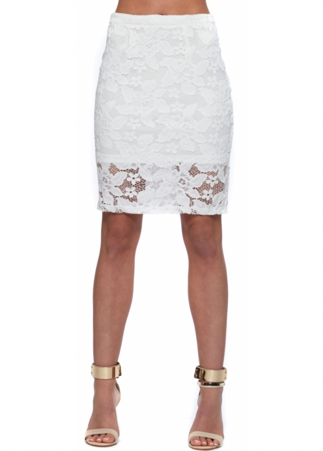 Wyldr Daydreamin White Lace High Waisted Pencil Skirt
