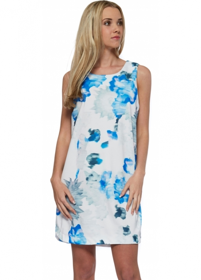 French Boutique Blue Floral Splash Sleeveless Shift Dress
