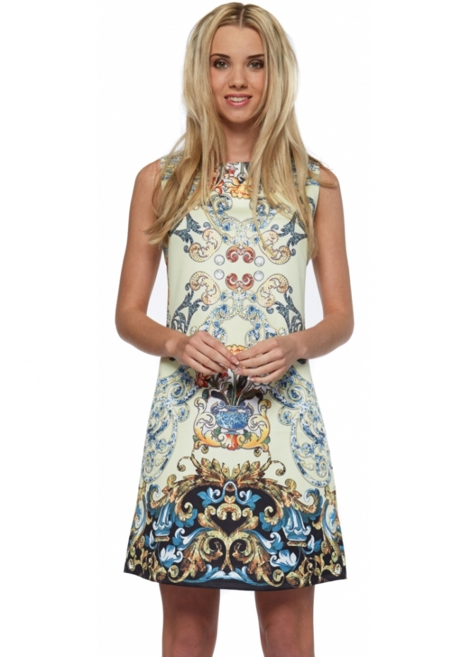 French Boutique Yellow Baroque Print Diamonte Front Shift Dress