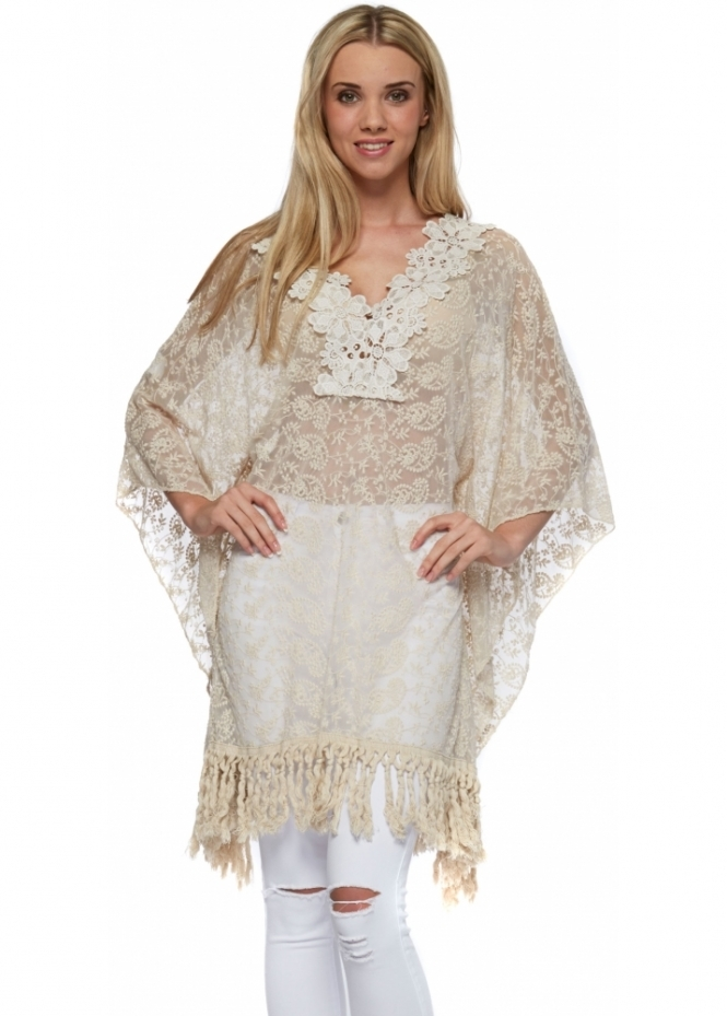 French Boutique Beige Embroidered Lace Fringed Kaftan Top