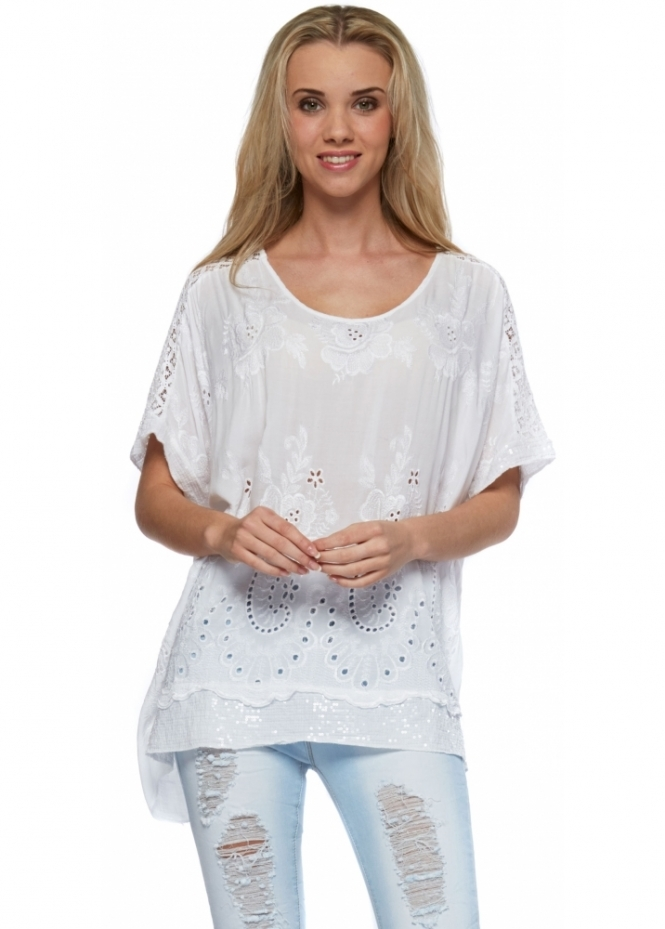 Sugar Babe  White Sequinned Embroidery Anglaise Top