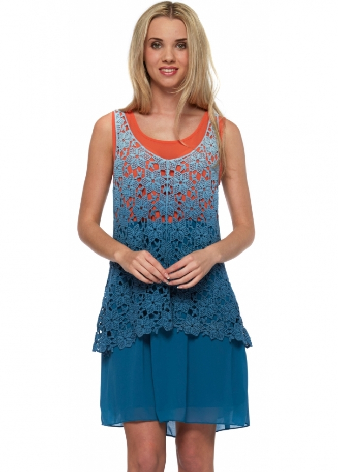 French Boutique Blue & Orange Tunic Dress With Lace Vest