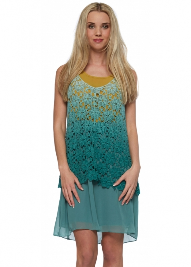 French Boutique Green & Mustard Tunic Dress With Lace Vest