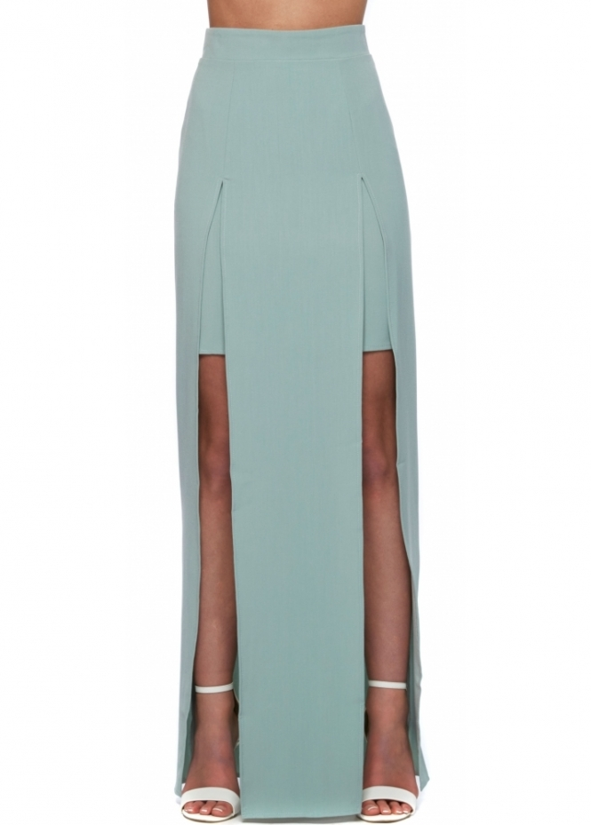 Designer Desirables Maxi Skirt With Twin Splits In Pale Green