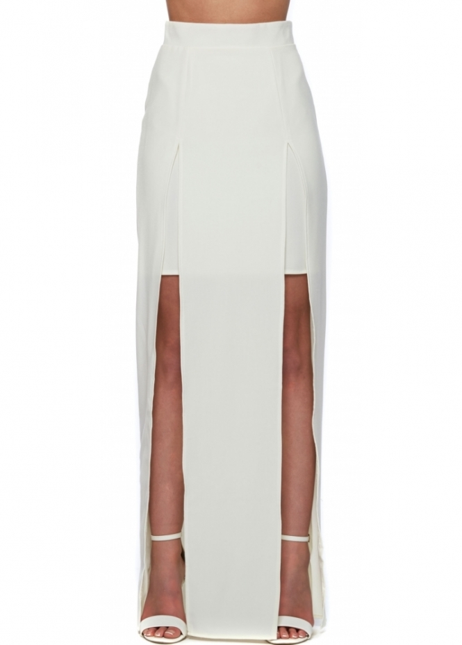 Designer Desirables Cream Maxi Skirt With Double Split