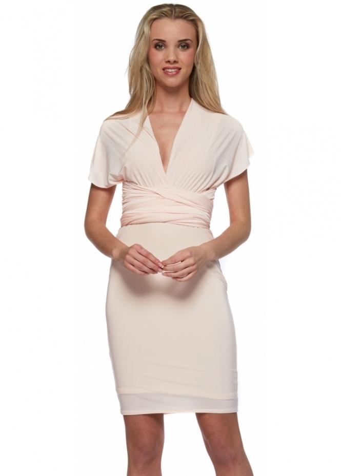Designer Desirables Nude Blush Silky Jersey Wrap Midi Dress