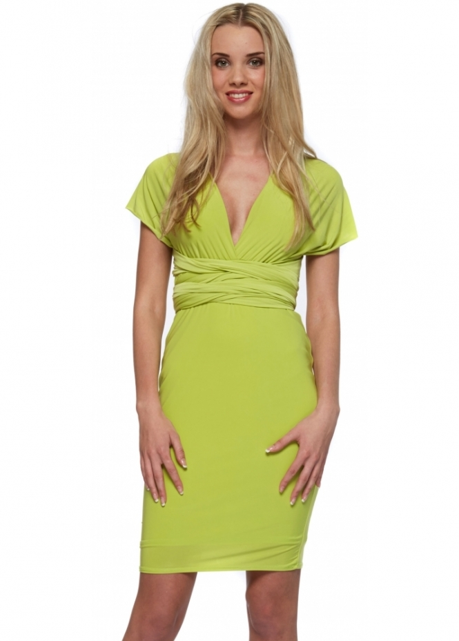Designer Desirables Lime Silky Jersey Wrap Midi Dress