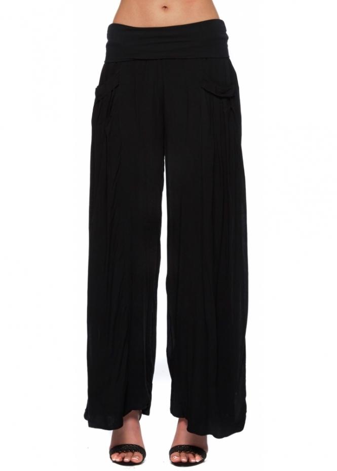 Sugar Babe Trousers Black Wide Leg Jersey Bandeau Waist