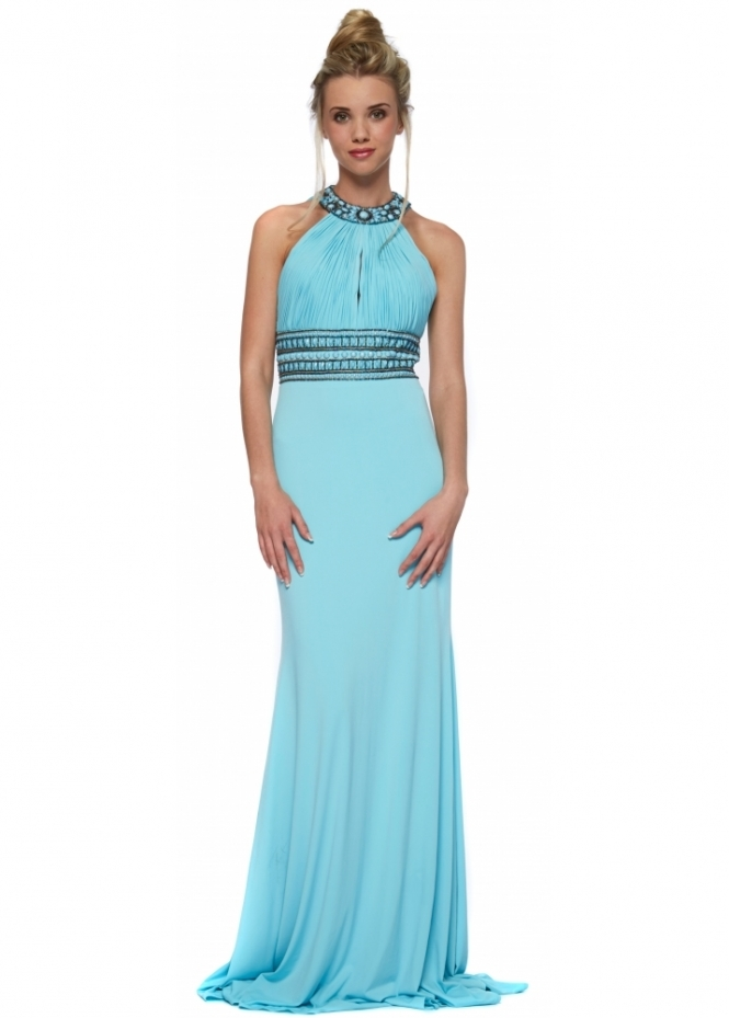 Corset And Dresses Aqua Backless Beaded Halterneck Felicity Maxi Dress
