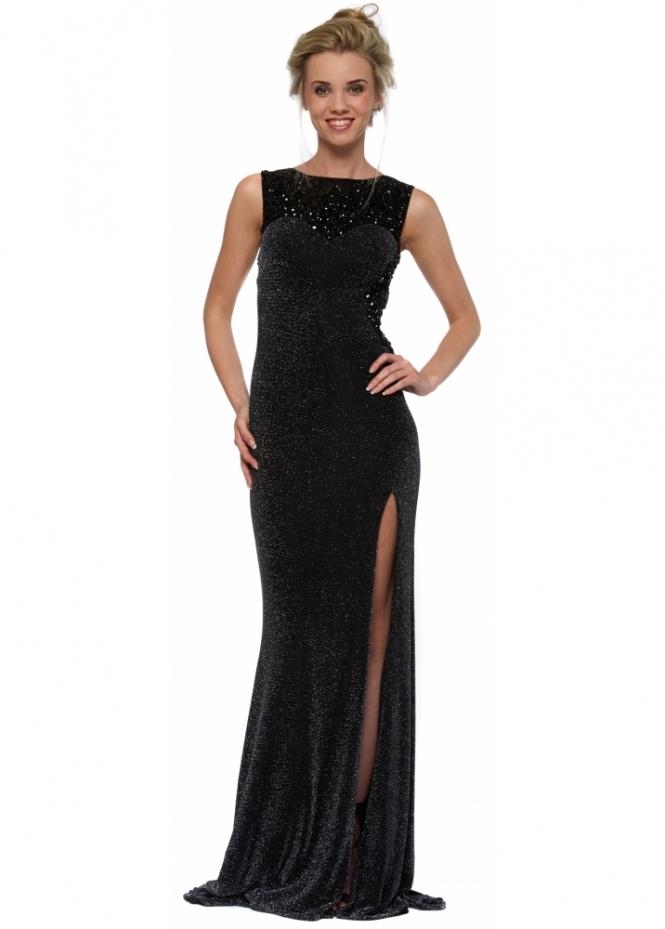 Corset And Dresses Latrice Black Lurex Mesh Beaded Bodice Evening Dress