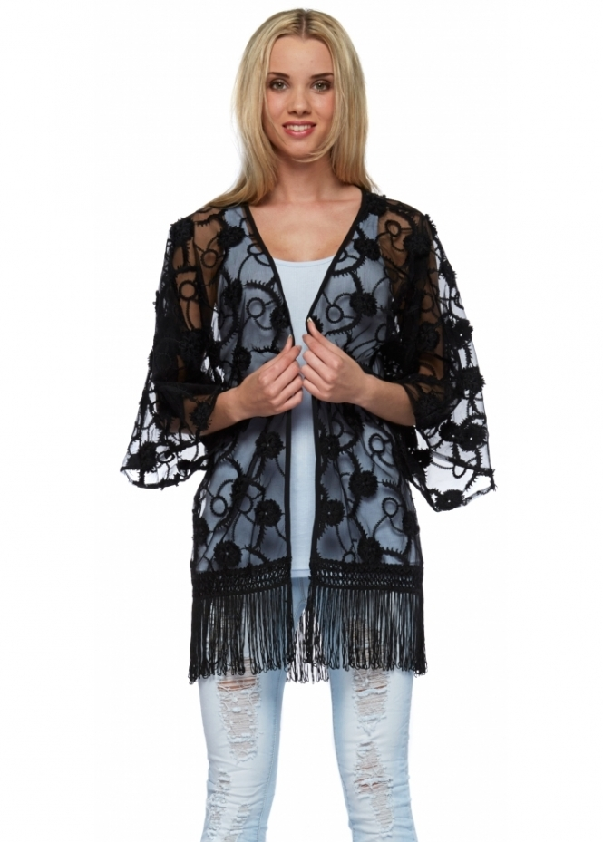 French Boutique Black Flower Embroidered Sheer Fringed Kimono Jacket