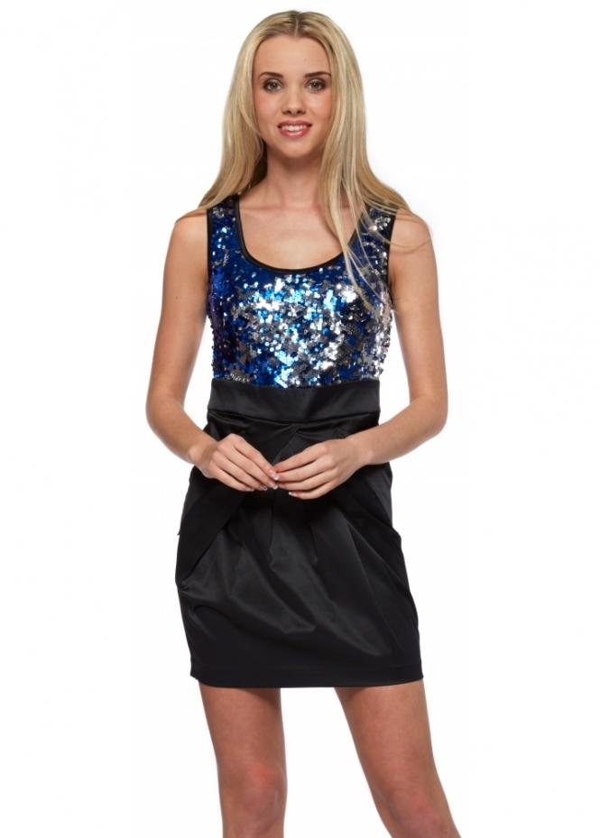 Designer Desirables Blue Sequinned Bodice Black Sateen Mini Dress