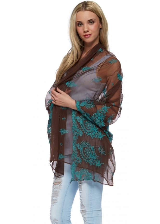 Antica Sartoria Brown Mesh & Turquoise Lace Long Shawl