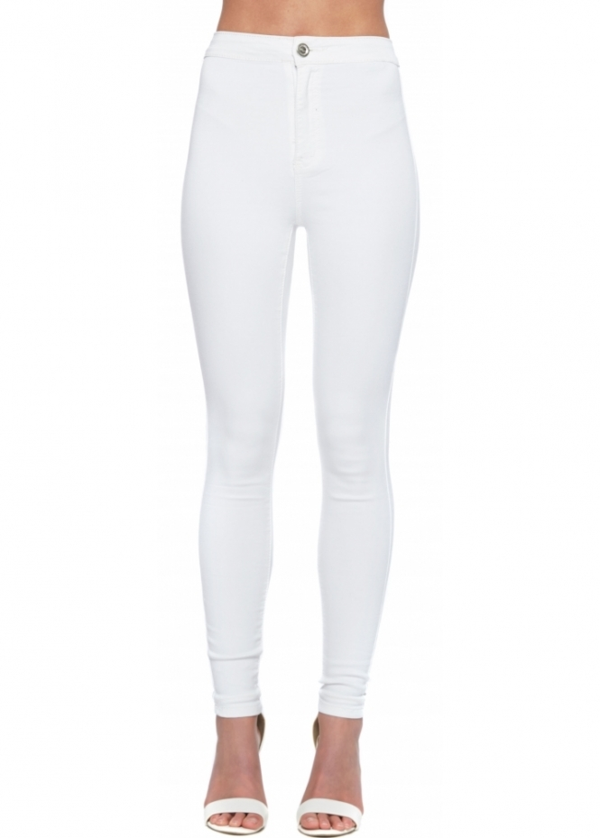 Designer Desirables High Waisted White Stretch Fit Skinny Jeans