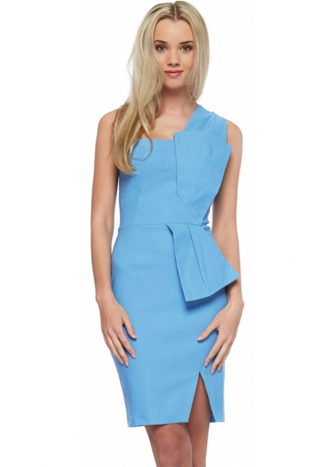 Vesper Hallie Dress In Light Blue With Sculpted Bow