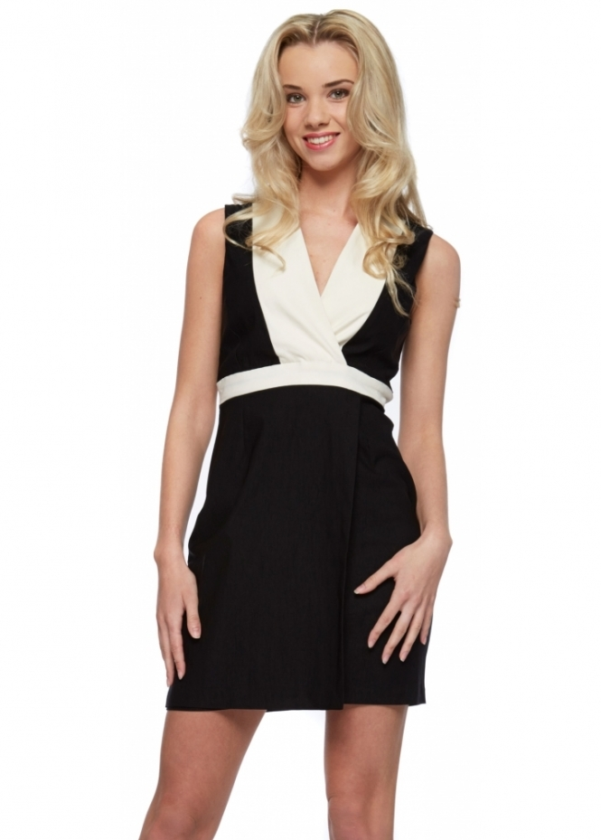Vesper Exclusive Maria Monochrome Wrap Bust Mini Dress