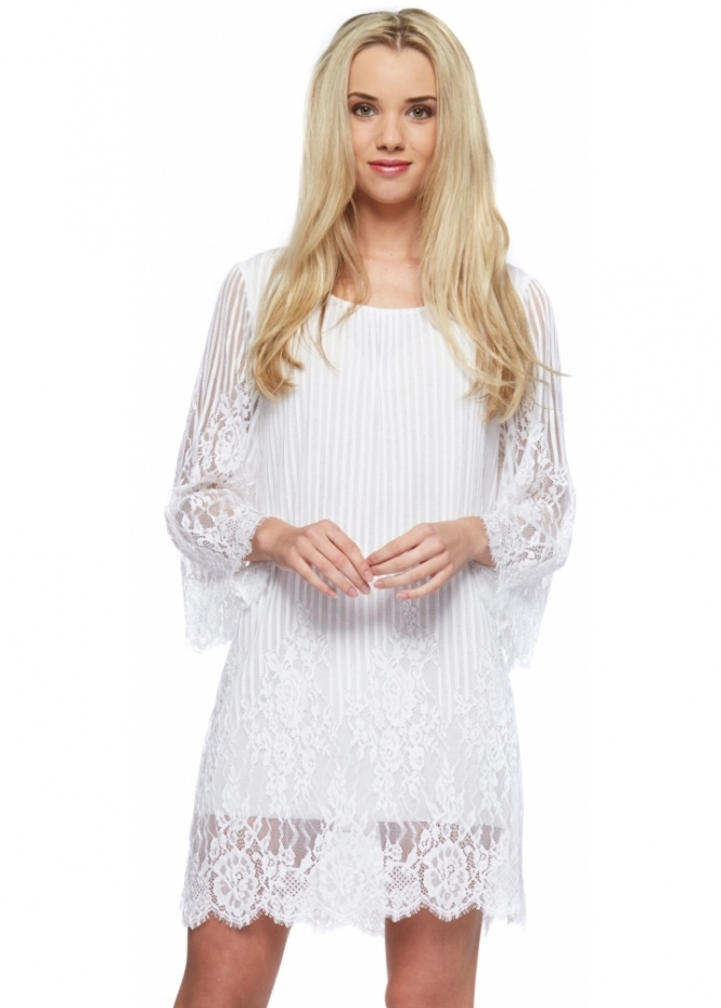 Monton White Lace Fluted Sleev Mini Shift Dress