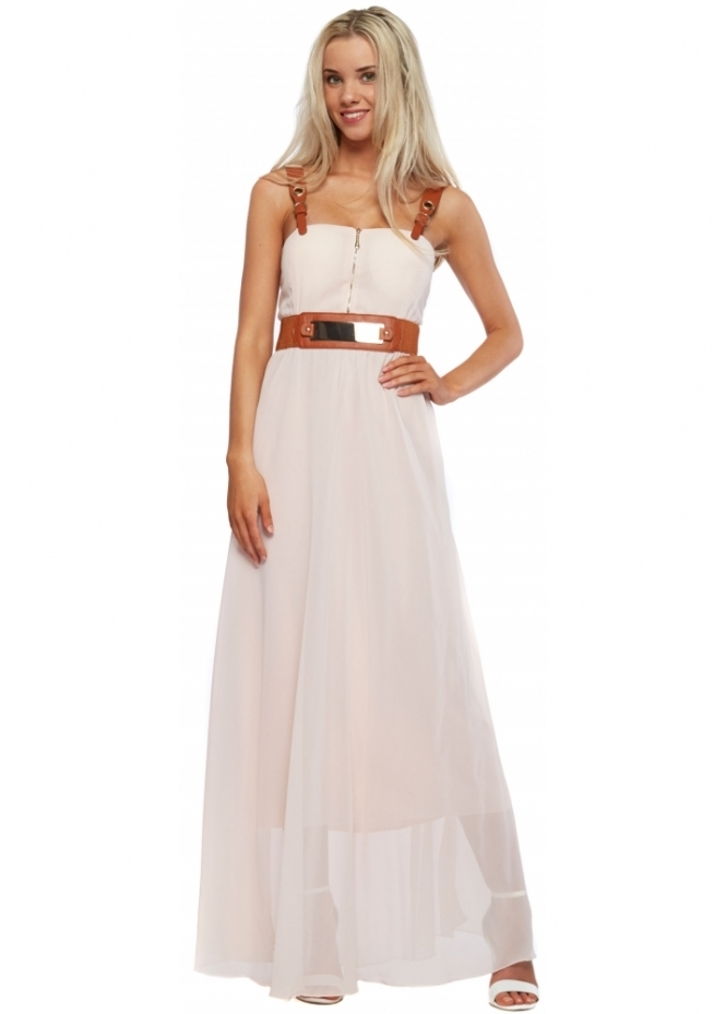 French Boutique Baby Pink Chiffon Faux Leather Buckle Strap Maxi Dress