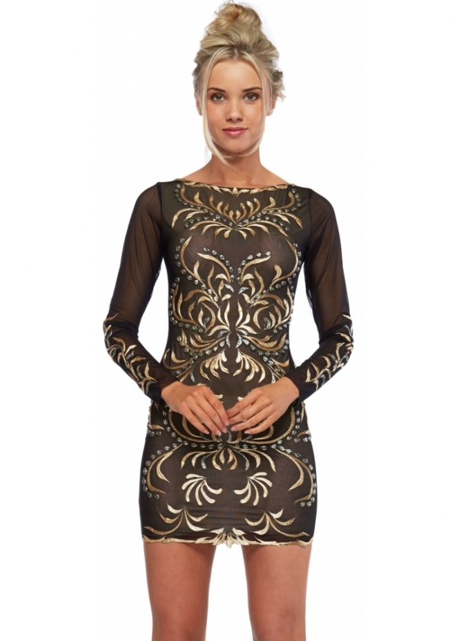 Holt Sveta Dress In Black With Gold Paint Accents