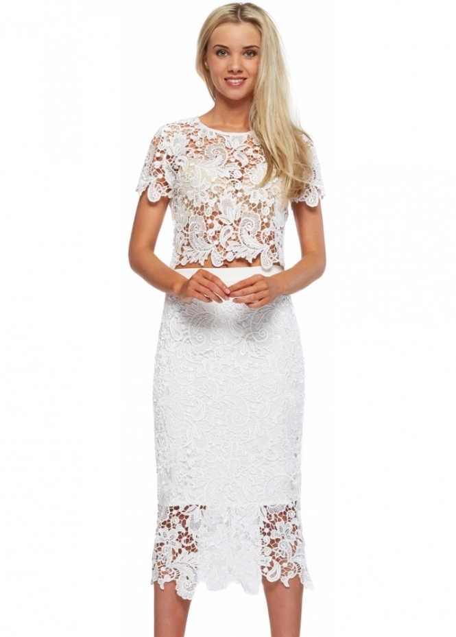 Abyss Bunny Set White Lace Pencil Skirt & Cropped Top