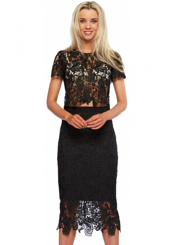 Abyss Bunny Set Black Lace Pencil Skirt & Cropped Top