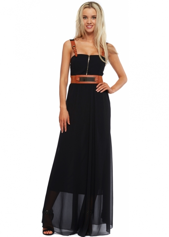 French Boutique Black Chiffon Faux Leather Buckle Strap Maxi Dress