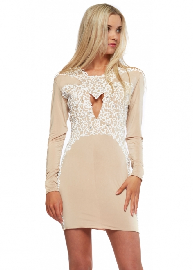 Holt Amber Nude With White Painted Detail Mini Dress