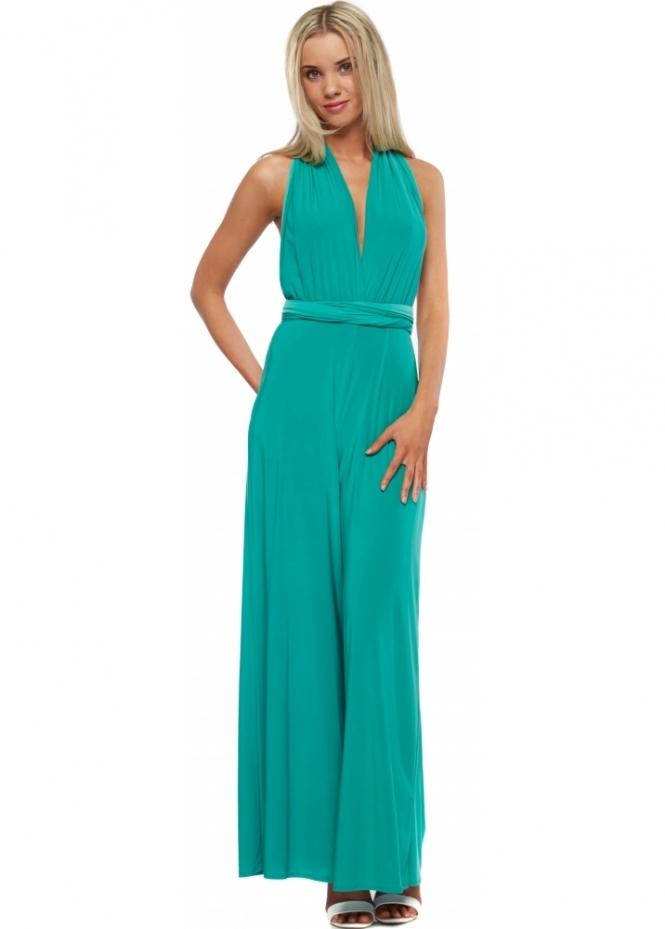 Designer Desirables Jade Green Silky Halterneck Wide Leg Jumpsuit