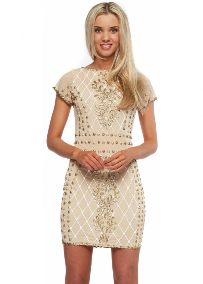 Holt Nude Gold & White Hand Painted Lilly Mini Dress