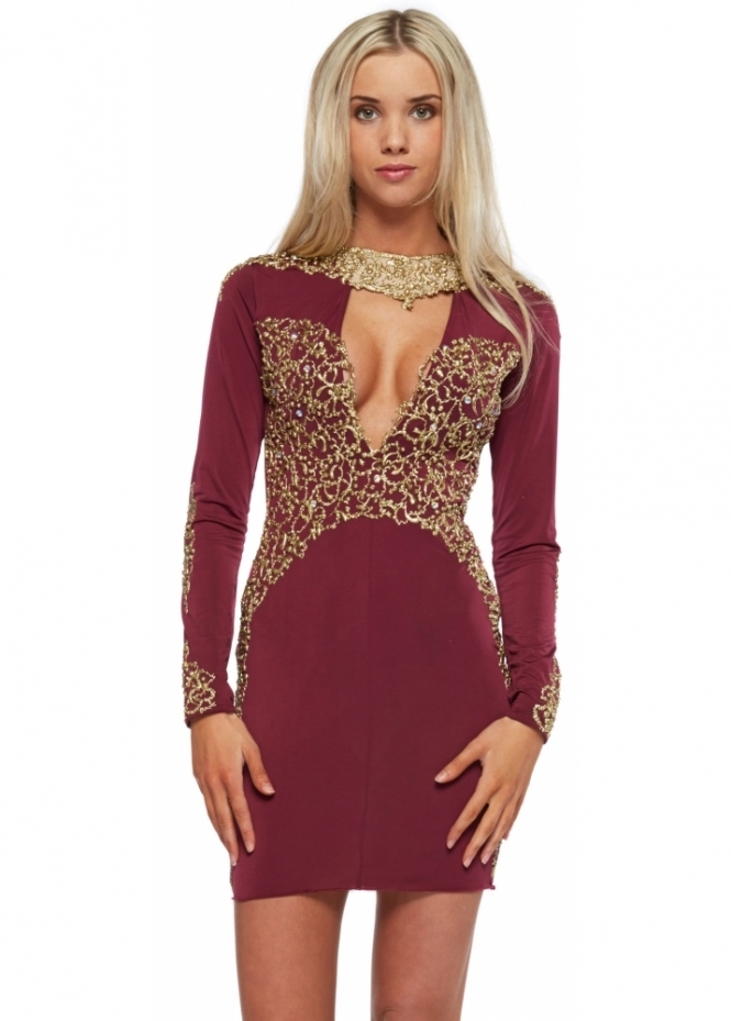 Holt Burgundy Gold Painted Amber Mini Dress