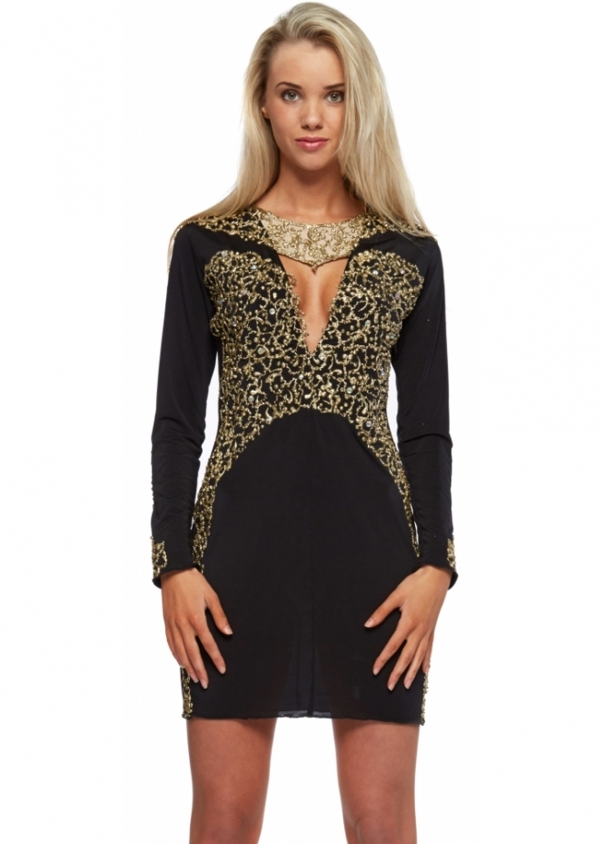Holt Black Gold Painted Long Sleeve Amber Mini Dress