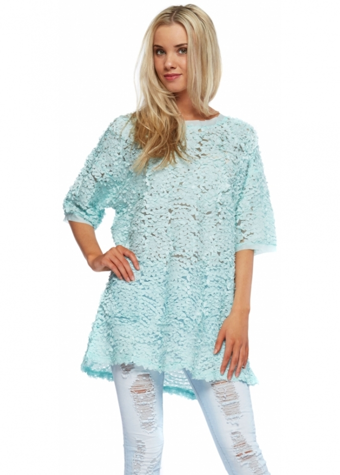 French Boutique Aqua Ribbon Mesh Short Sleeved Tunic Top With Zip Back