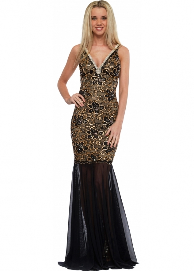 Baccio Black & Gold Crystal Painted Mesh Long Zara Evening Dress