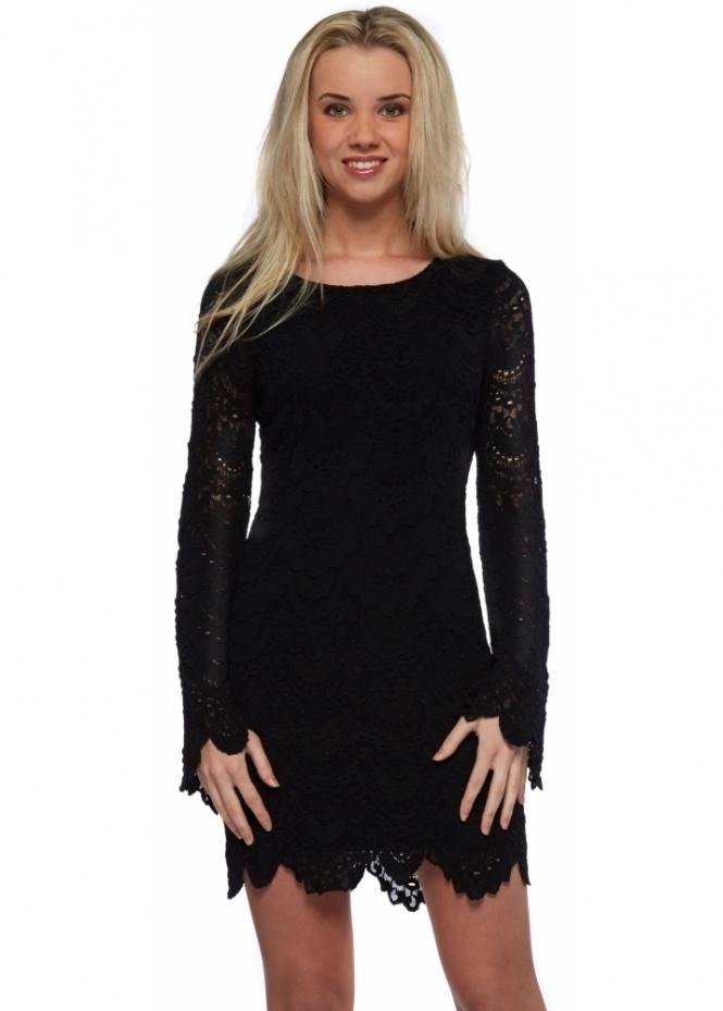 Nightcap Tie Back Priscilla Dress In Black Spanish Lace