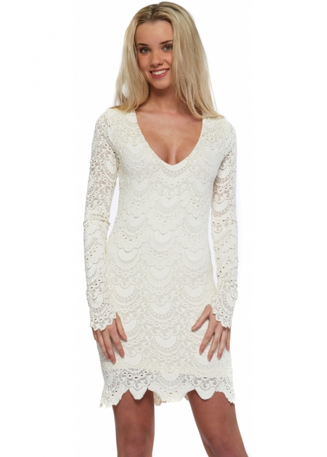 Nightcap Spanish Lace Deep V Long Sleeved Mini Dress In Ivory