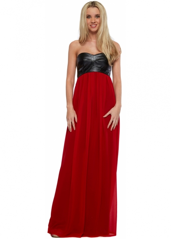 Goddess London Black Faux Leather Bandeau Red Chiffon Maxi Dress