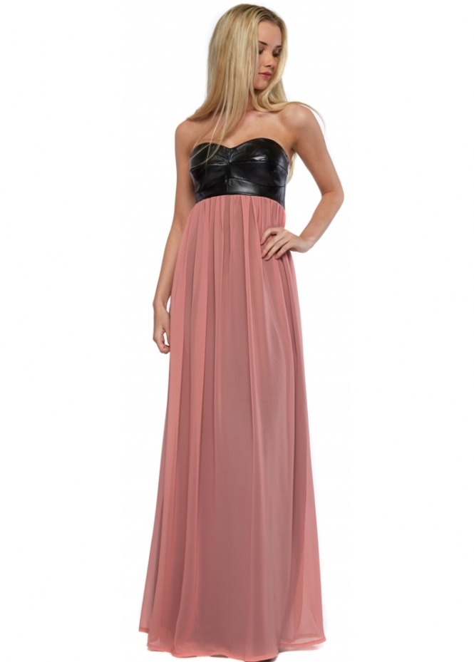 Goddess London Black Faux Leather Bandeau Dusky Pink Chiffon Maxi Dress