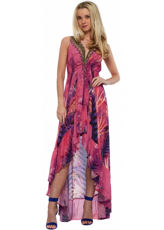 Shahida Parides Pink & Purple Silk Crepe Palm Print Hi Low Maxi Dress