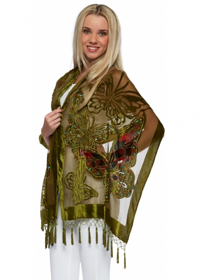 JayLey Olive Green Beaded Butterfly Silk Devore Scarf