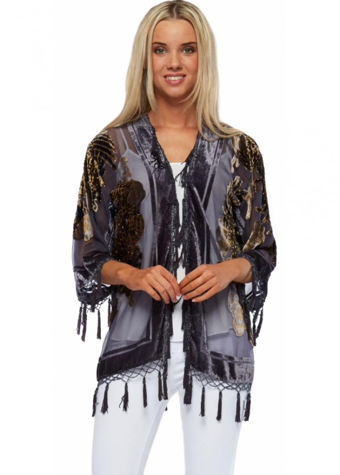 JayLey Grey Silk Devore Beaded Short Jacket