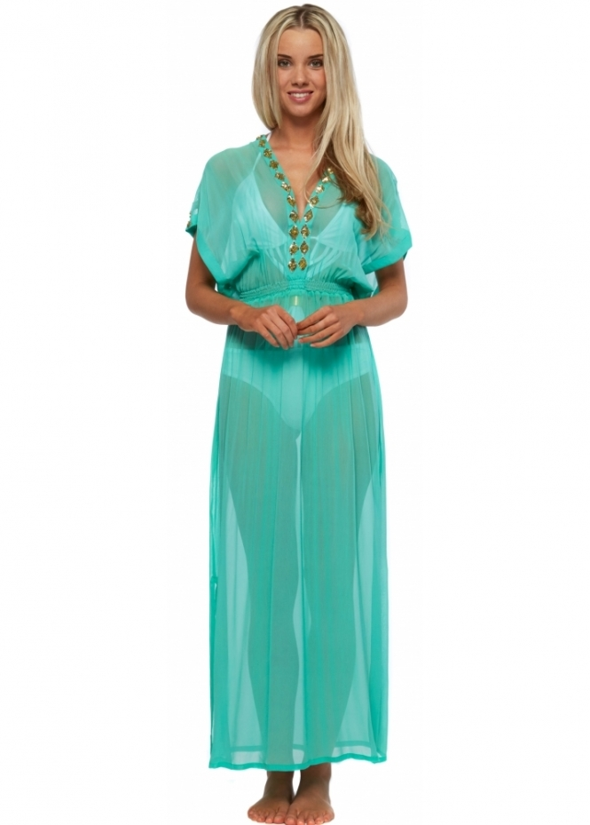 Lindsey Brown Marbella Gold Beaded Aqua Silk Maxi Kaftan Dress