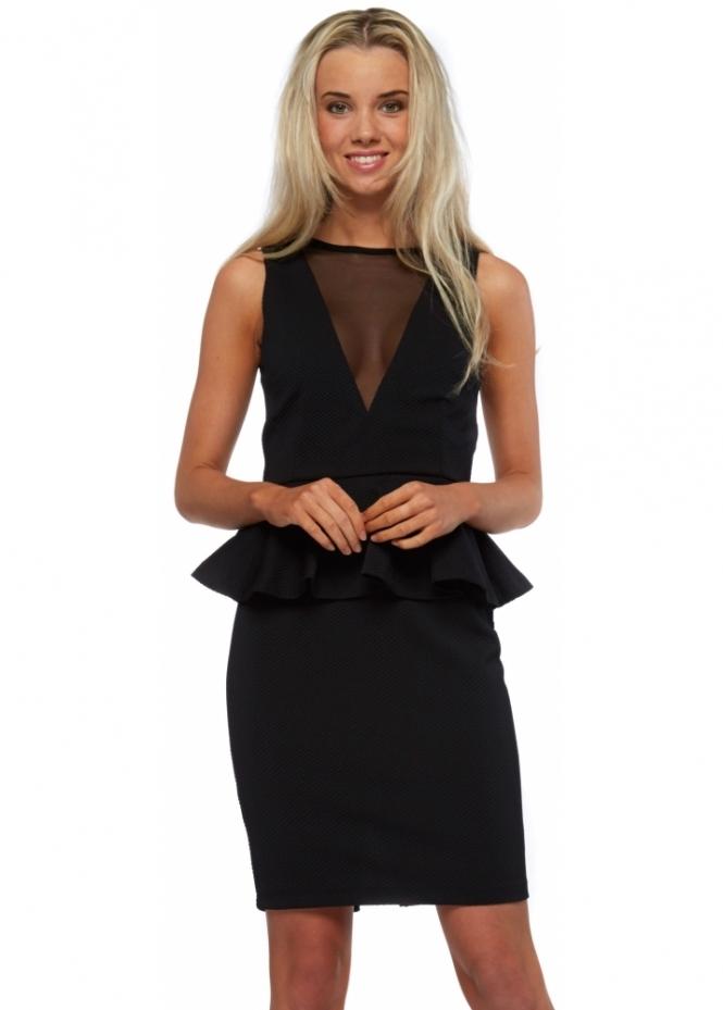 Vesper Symphony Dress Black Peplum Sheer Panel Textured Midi