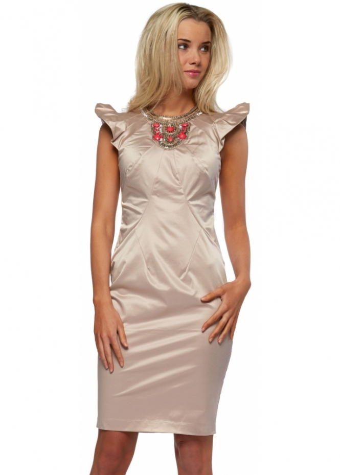 Goddess London Stretch Sateen Jewelled Necklace Dress With Frilled Sleeves