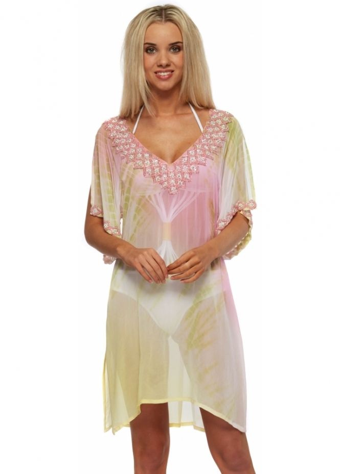 Lindsey Brown Tropical Paradise Zanzibar Silk Beaded Kaftan