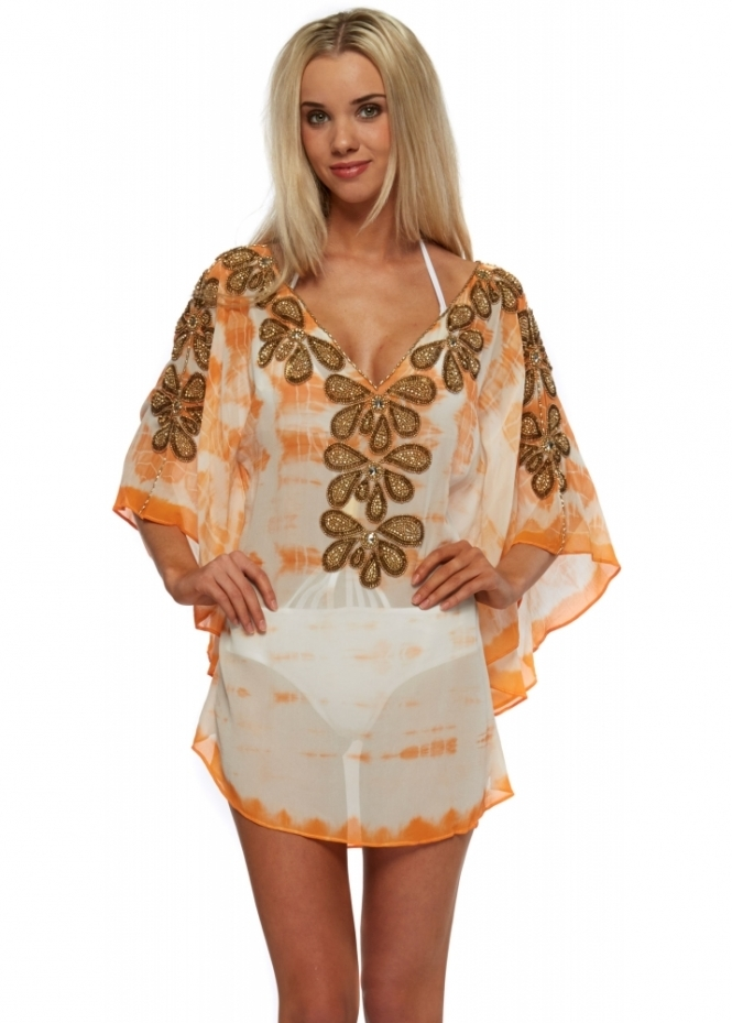 Lindsey Brown Orange Tie Dye Gold Beaded Silk Rumba Kaftan Top