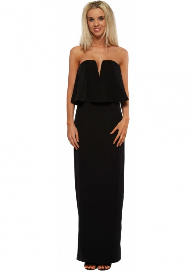 Jarlo Poppy Dress In Black With Bandeau Frill