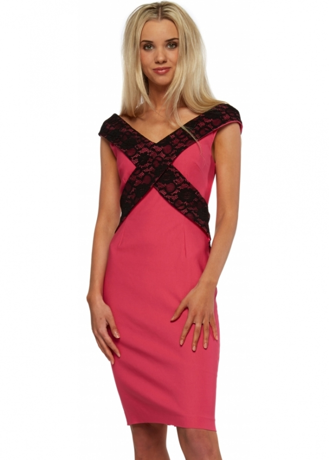 Vesper Hot Pink Black Lace Cross Strap Beau Pencil Dress